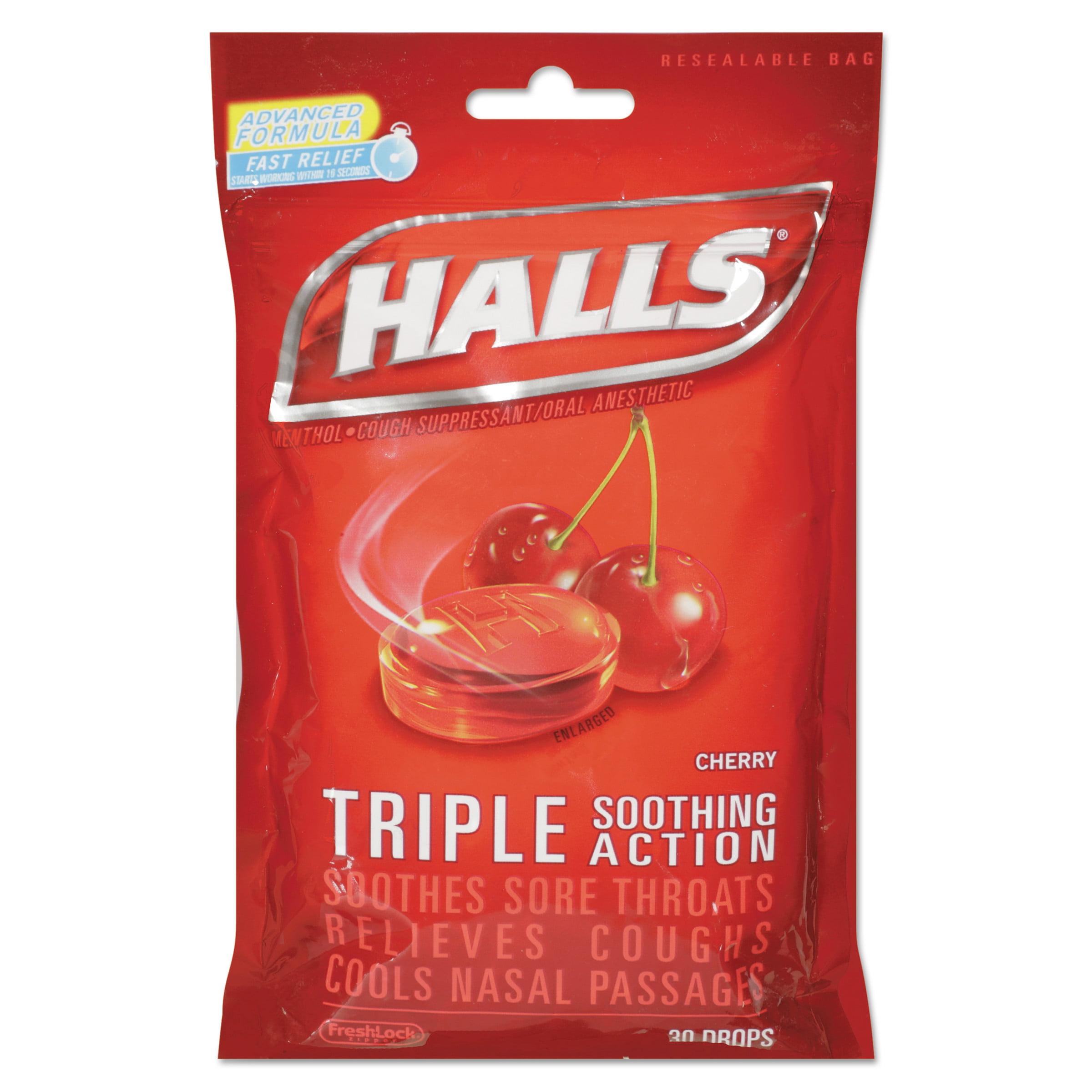 HALLS Triple Action Cough Drops, Cherry, 30 Ct