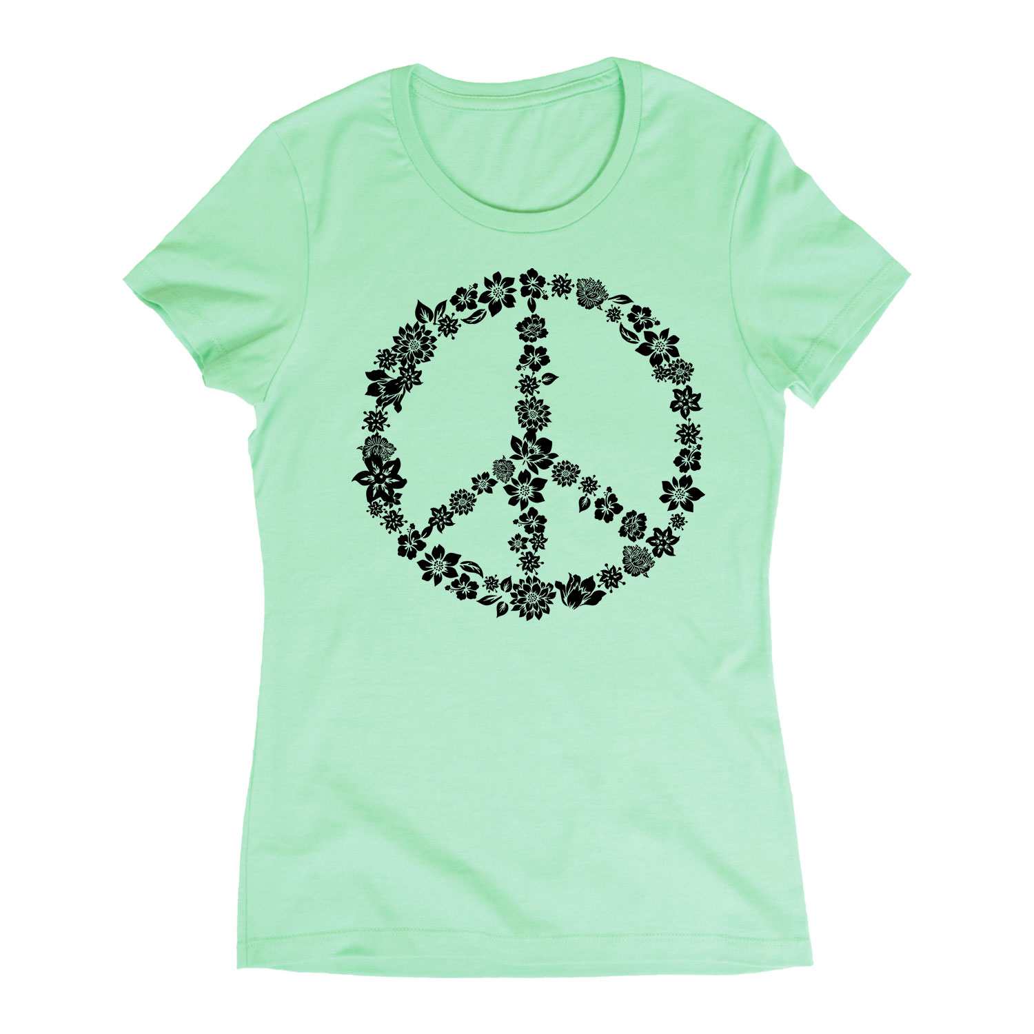 Flowers, Peace Sign Shape - Adult LADIES SHORT SLEEVE TEE