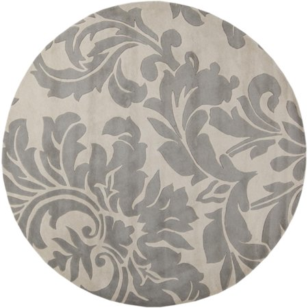 leaves damask gray and white round wool area throw rug