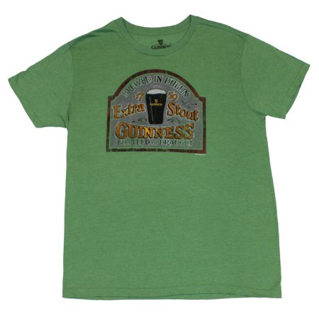 Guinness Beer Mens T Shirt    Extra Stout Bottle Draught Sign Image