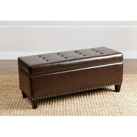 Surprising Devon Claire Norman Dark Brown Leather Nailhead Trim Storage Ottoman Caraccident5 Cool Chair Designs And Ideas Caraccident5Info
