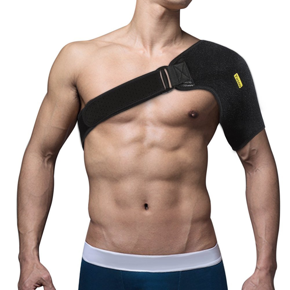 Yosoo Shoulder Brace for Rotator cuff Adjustable Neoprene Shoulder Support Wrap for Dislocated AC Joint Pain Relieve,Injury Prevention and Recovery,Fits Men or Women