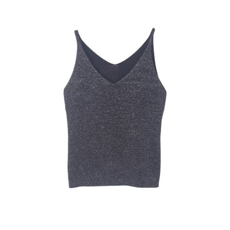 Knit Sleeveless Vest (Women's V Neck Stretch Sleeveless Slim Fit Knitted Camisole Crop Top Vest)