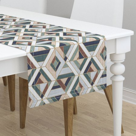Table Runner Vintage Geo Tile Mosaic Retro Geometric Cotton (Vintage Gem)