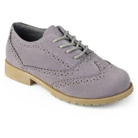 Boy's Faux Suede Wingtip Lace-up Dress Oxfords (Suede Wingtip Shoes)