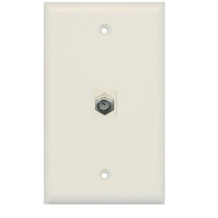 RiteAV Coax Cable TV Wall Plate 1 Gang Flat - Light Almond