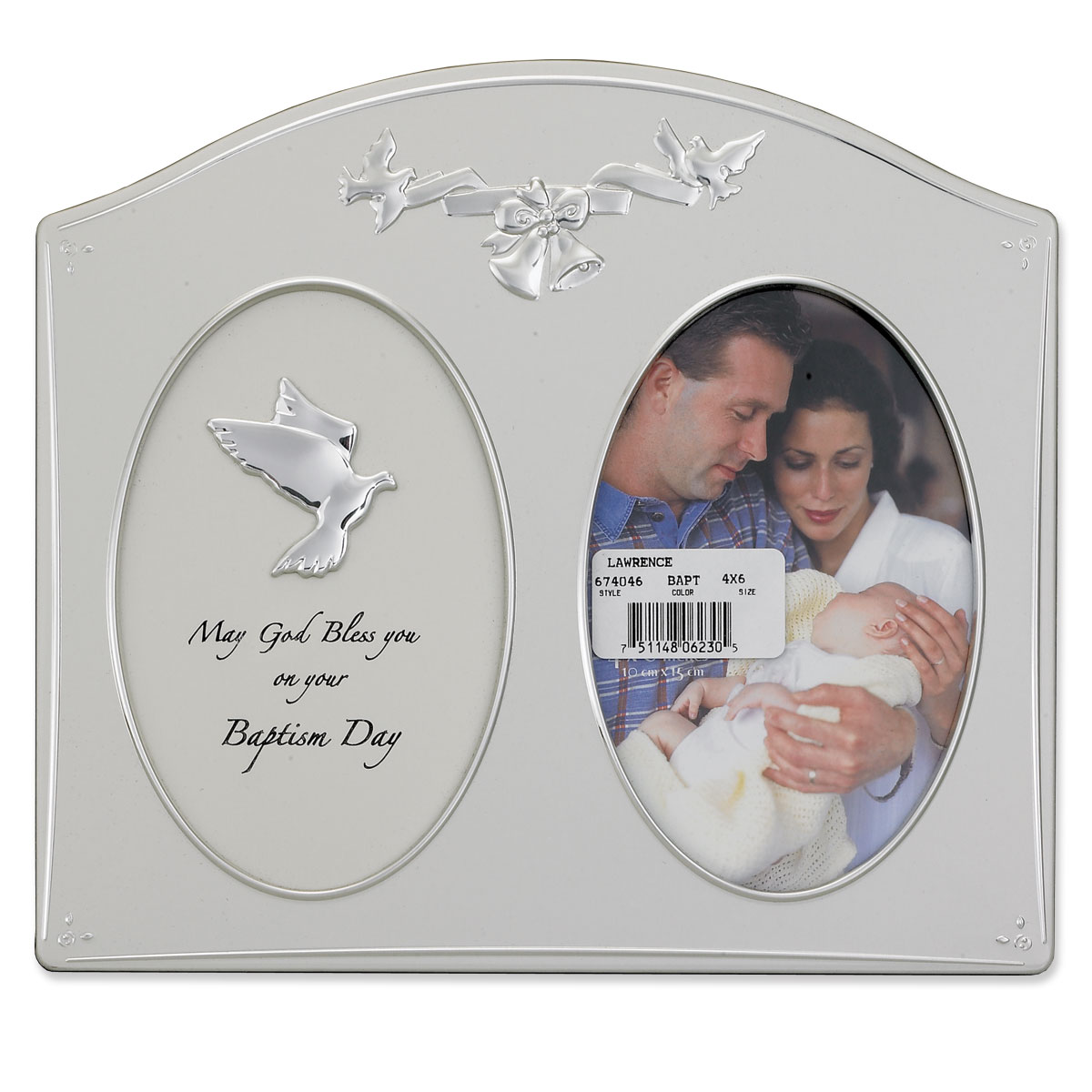 Silver Metal 4x6 Baptism Day Picture Frame