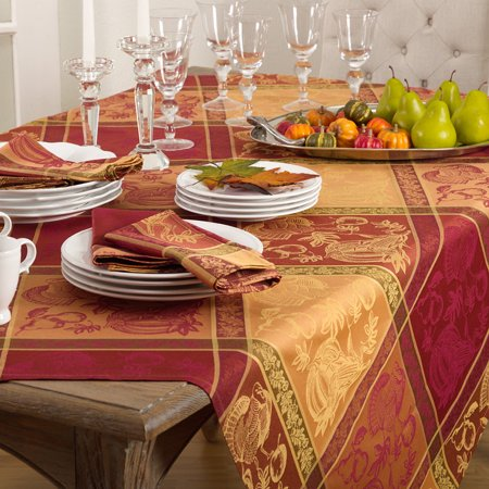 Multi Color Jacquard Pumpkin and Turkey Design Holiday Thanksgiving Tablecloth 72