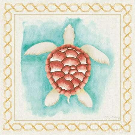 Coastal Mist Sea Turtle Canvas Art - Elyse DeNeige (24 x 24)