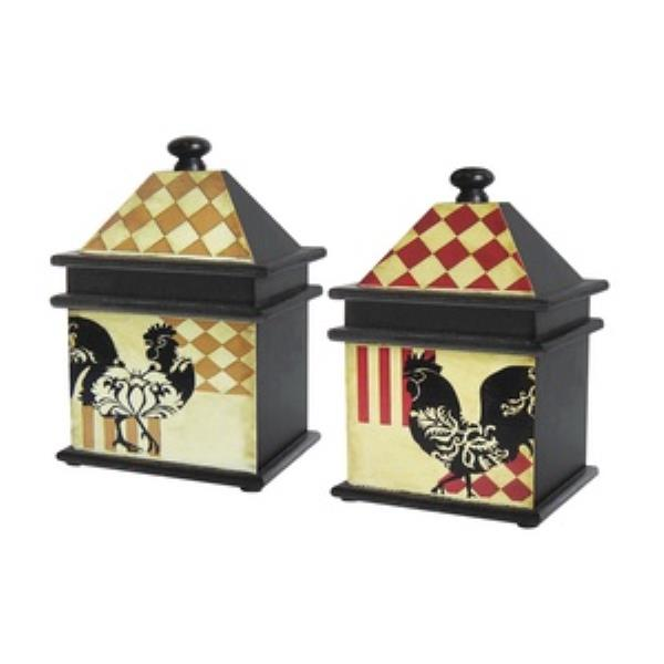 Sterling Industries Harlequin Rooster - Decorative Box - Set of 2, Black Finish