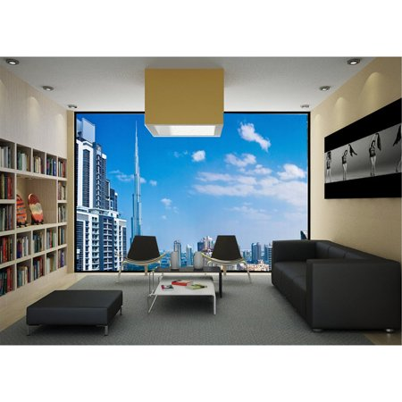 "Startonight Mural Wall Art Living in Dubai near to Burj Kalifa Illuminated Urban Wallpaper Photo 5 Stars Gift Large 10 x 28,82 '' x 50,4 '' Total 8'4""x (Dubai Gifts)"