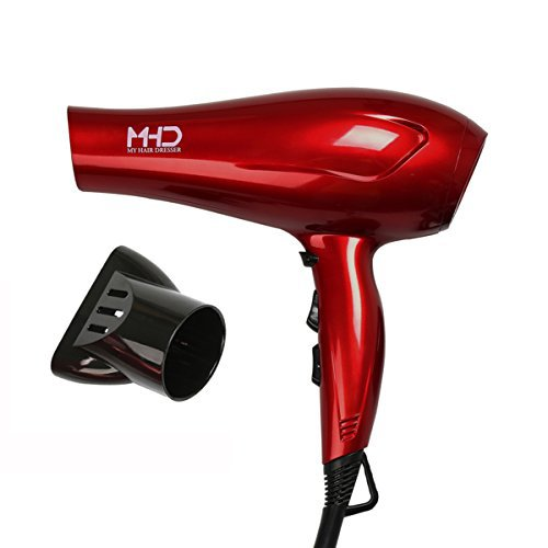 MHD Hair Dryer Lightweight Tourmaline Titanium Blow Dryer Negative Ionic Dryer 2 Speed and 3 Heat Settings Cool Shot Button Removable Concentrator Red