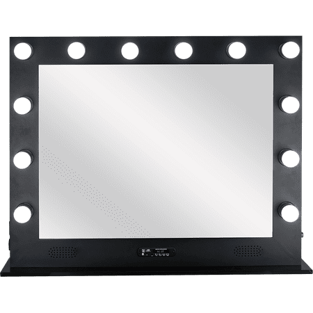Home Décor Large Makeup Studio 12 Dimmable LED Lights Artist Portable Vanity Hollywood Mirror Bluetooth Speakers Glass Base – VL004 Black