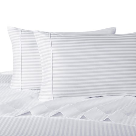Attached Waterbed Sheets 100% Cotton 300 Thread Count Damask Striped- Queen - White Stripes Taupe 300 Thread