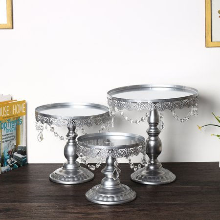 3 Pcs/Set Cake Display Stand Cupcake Tower Holder for Birthday Wedding Display Plates Dessert Bar Party Decor Gifts](Silver Cake Stand)