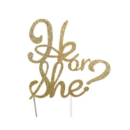 Handmade Gender Reveal Cake Topper Decoration - He or She - Made in USA with Double Sided Gold Glitter - Usc Decorations