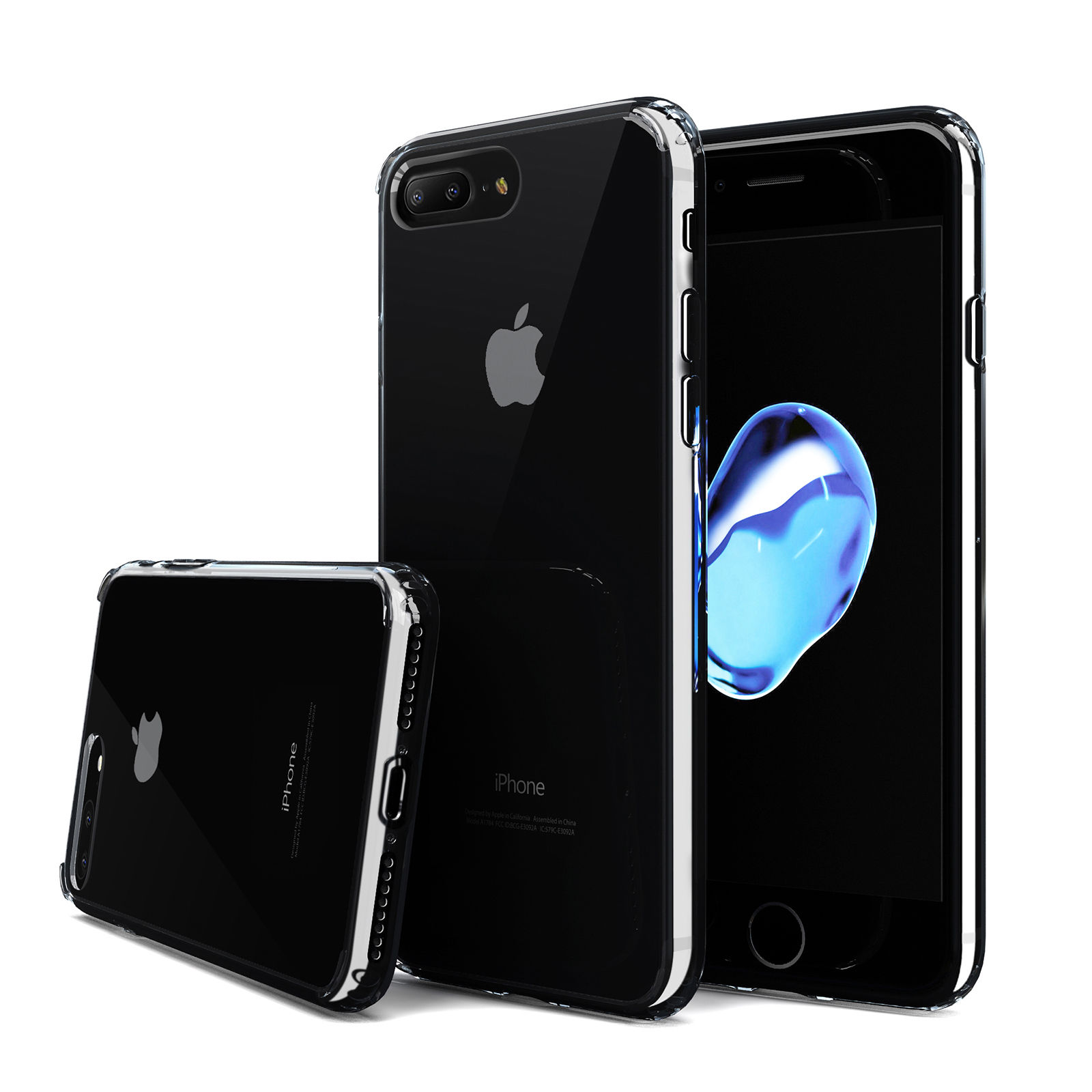 iPhone 7 Plus Case - Quirkio - Crystal Clear TPU Gel Transparent Protective Cover Ultra Slim Soft Rubber Dust Proof Hard Bumper Back Skin Slim Fit Case for iPhone 7 Plus
