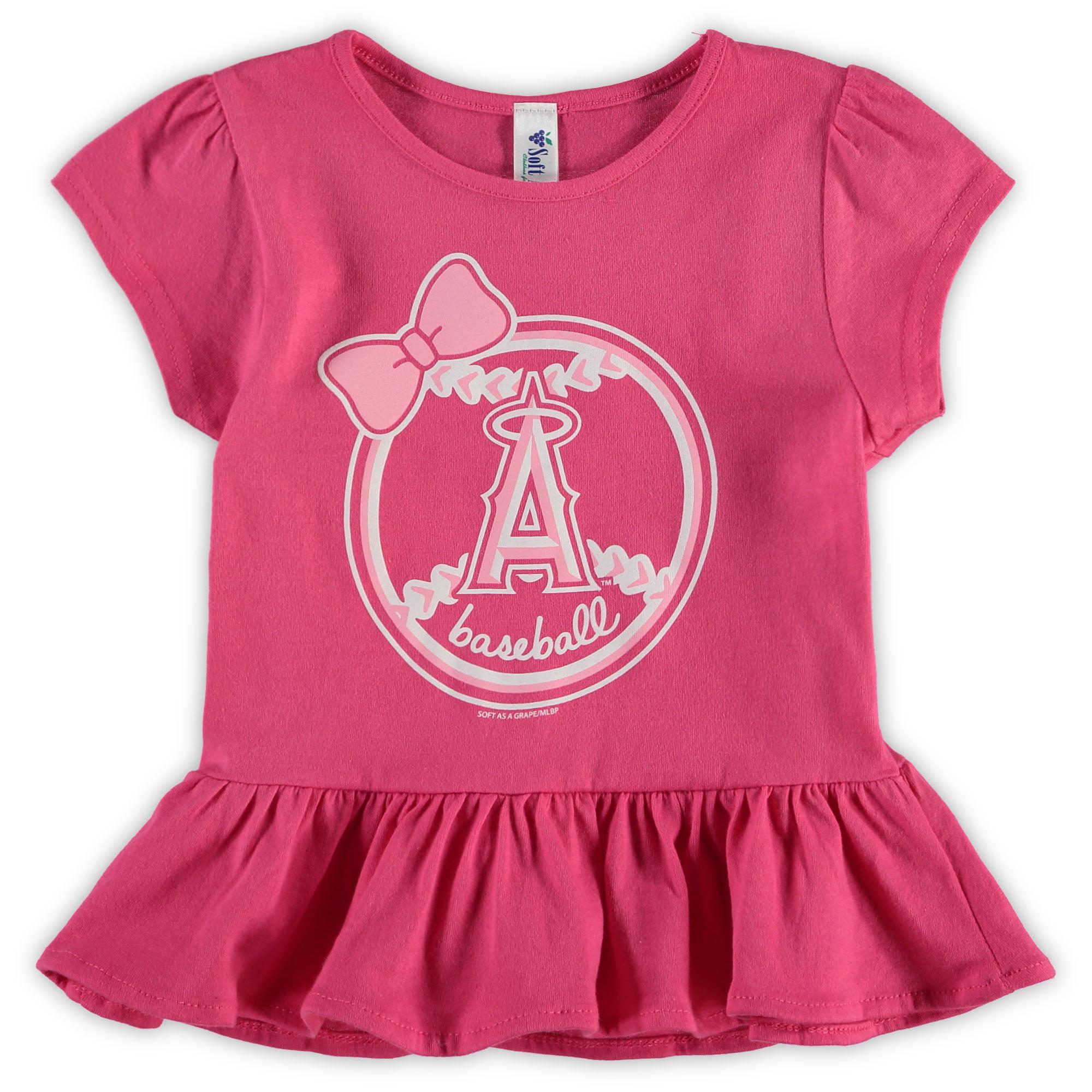 Los Angeles Angels Soft as a Grape Girls Toddler Ruffle T-Shirt - Pink