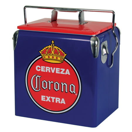 Corona 18 Can Stainless Steel Retro Ice Chest with Bottle Opener (14 Quarts/13 Liters)