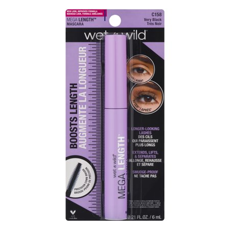 Wet n Wild Mega Length Mascara C158 Very Black, 0.21 FL
