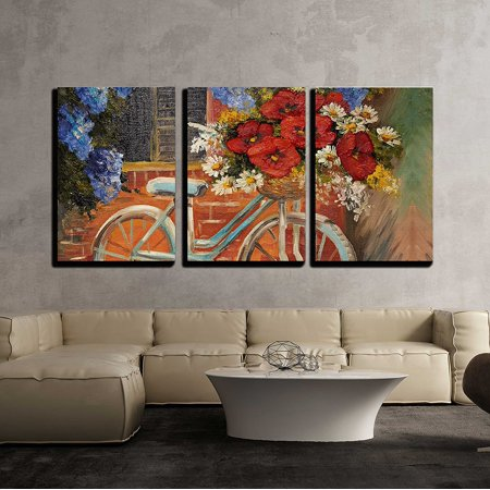 wall26 - 3 Piece Canvas Wall Art - Oil Painting on Canvas - Flowers near a Wall, Bike with a Bouquet of Flowers - Modern Home Decor Stretched and Framed Ready to Hang - 24
