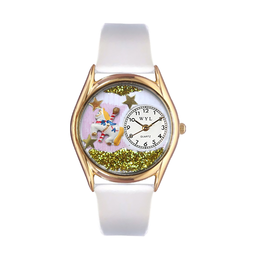 Whimsical Watches Kids C0420006 Classic Gold Carousel White Leather And Goldtone Watch