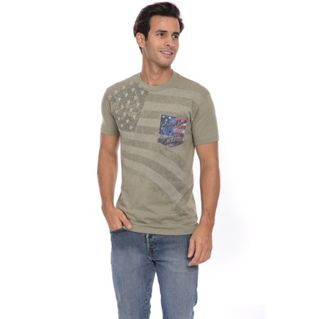 US United States American Flag Military Pride Soft T-Shirt Tee Printed Pocket Unisex Mens - Olive (American Pride Print)