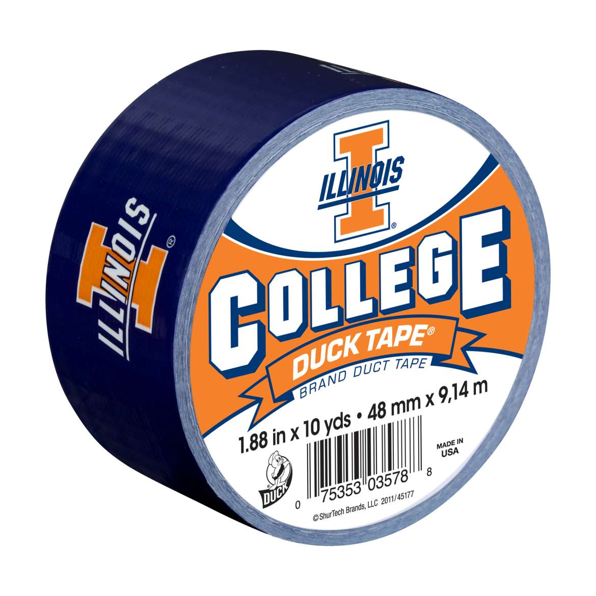 Duck Brand College Logo Duct Tape, 1.88 in. x 10 yds., Illinois