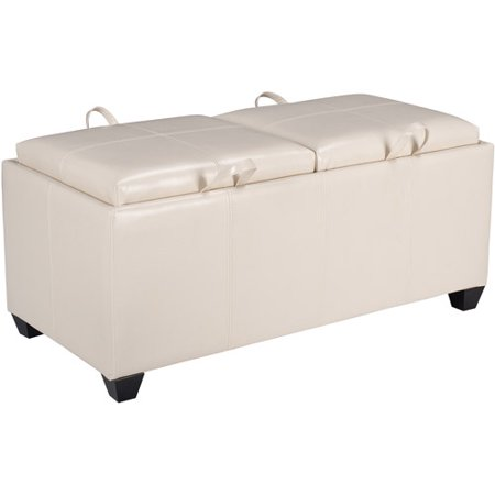 Office Star Metro Storage Bench Ottoman with Trays in Cream