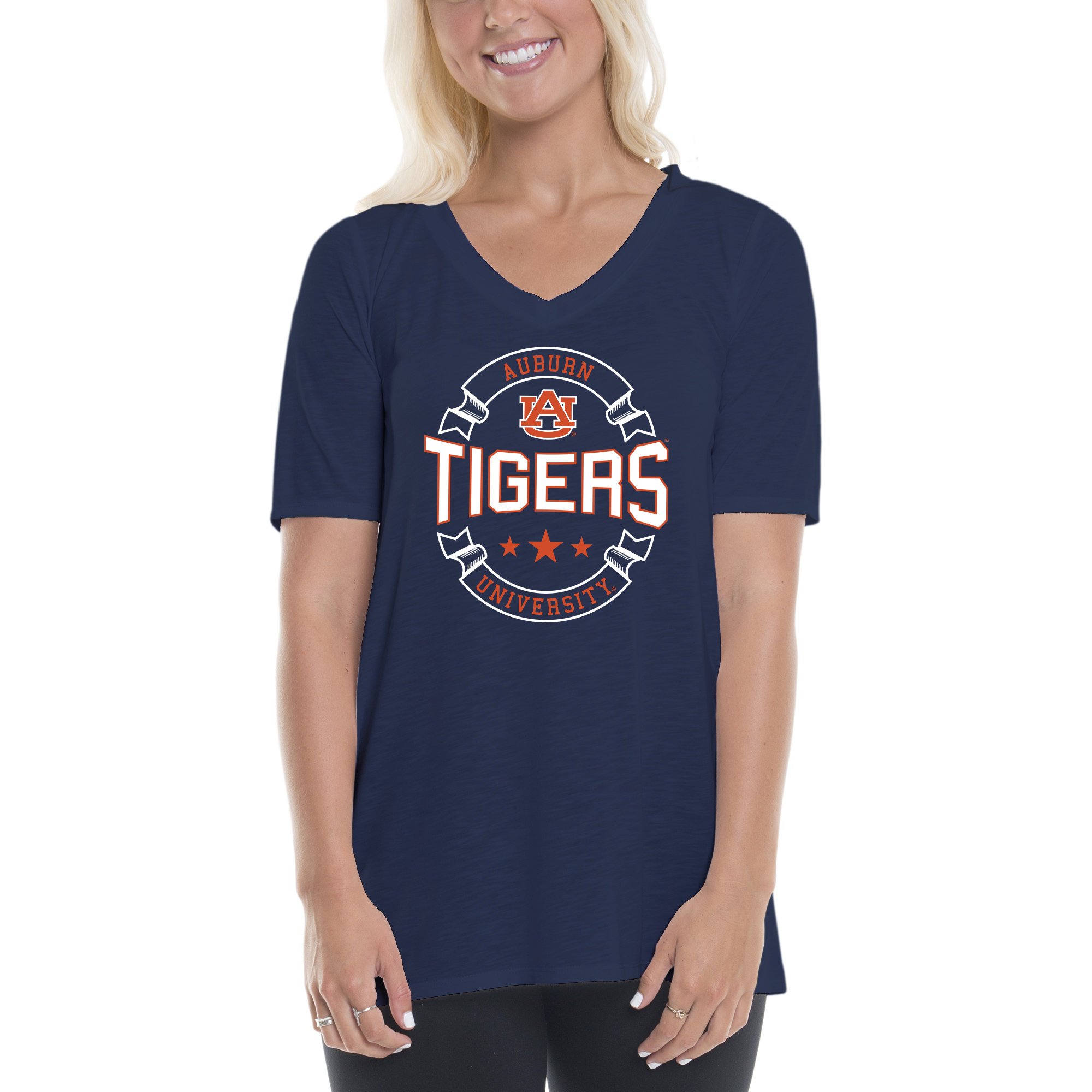 Women's Navy/Orange Auburn Tigers Double Ribbon Arch V-Neck T-Shirt