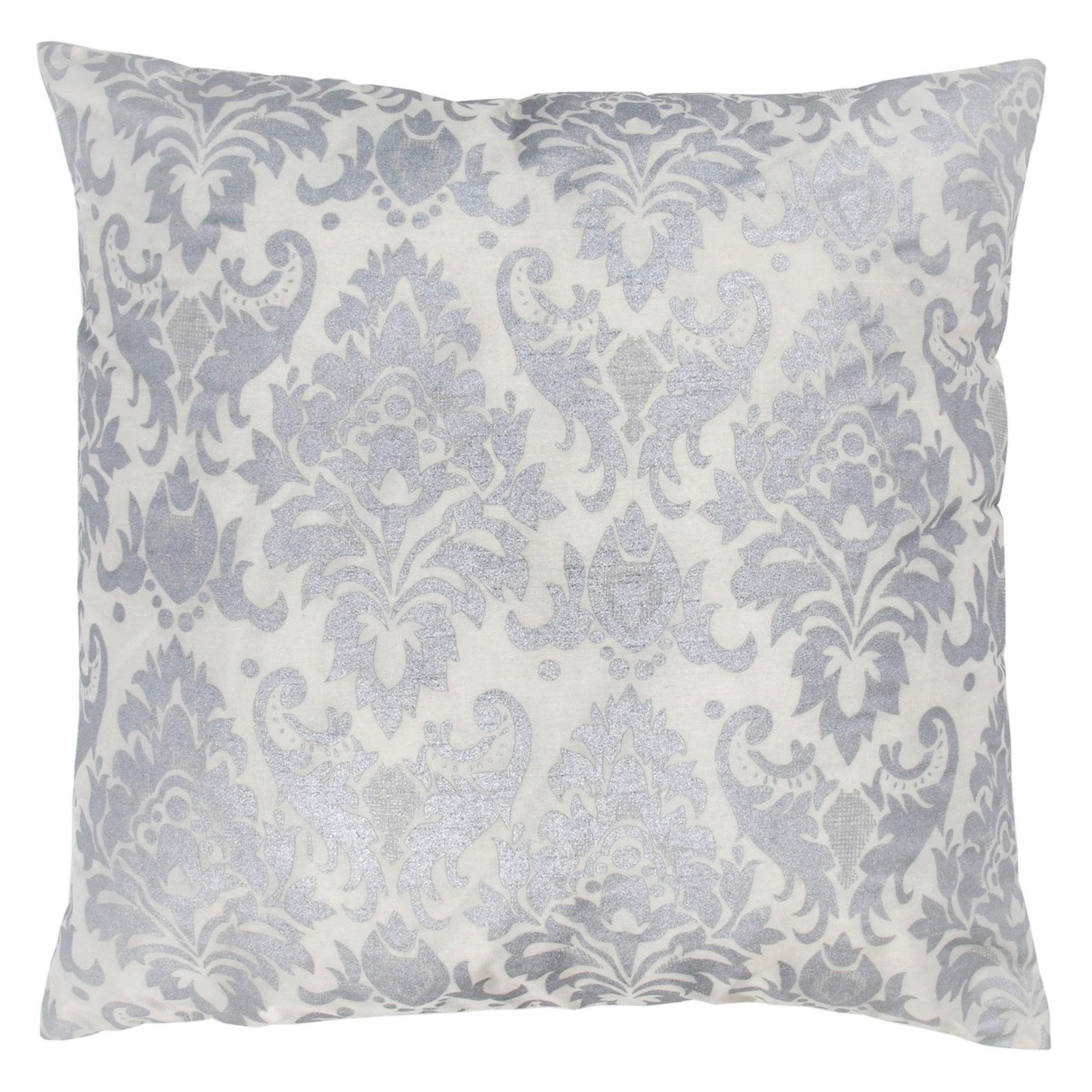 "Rizzy Home Decorative Poly Filled Throw Pillow Damask 18""X18"" Silver"