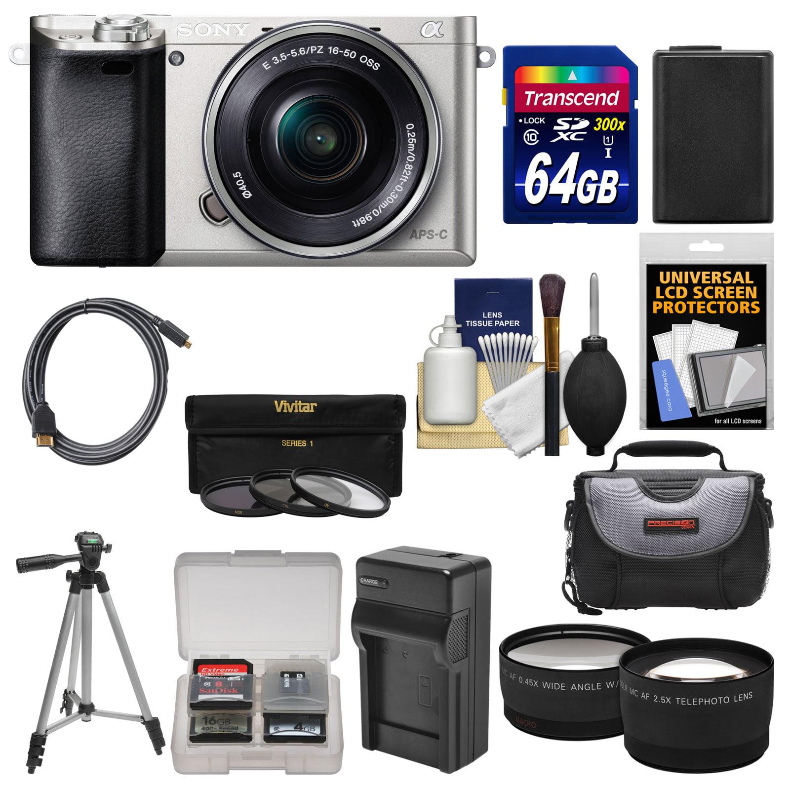 Sony Alpha A6000 Wi-Fi Digital Camera & 16-50mm Lens (Silver) with 64GB Card + Case +... by Sony