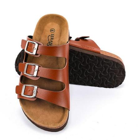 Seranoma Women's Triple Adjustable Buckle Platform Slide   Open Toe Slip On   Summer Cork Sandal   High Platform   Metal Buckle