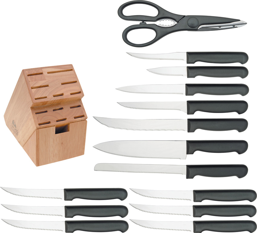 Chicago Cutlery Basics 15-Piece Knife Block Set with Black Handles Multi-Colored