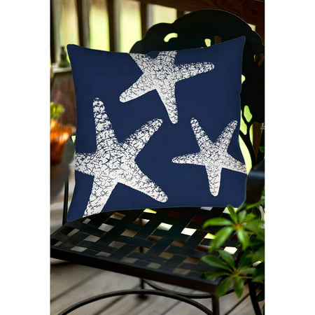Thumbprintz Nautical Nonsense White Blue Starfish Indoor/Outdoor - White Starfish