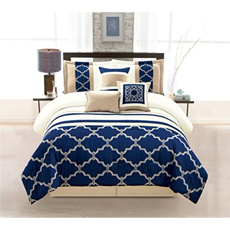 Wpm 7 Pieces Complete Bedding Ensemble Navy Blue Taupe
