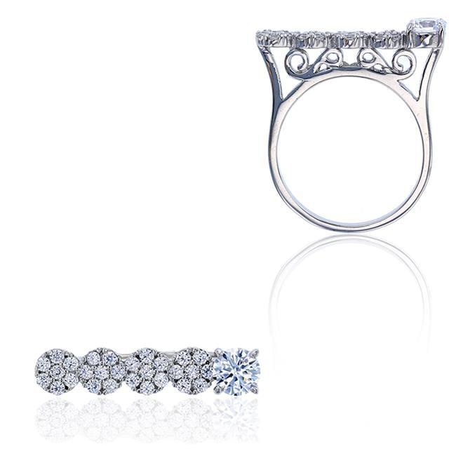 YGI SZR5249W2W-05 Sterling Silver Rhodium 5 mm. Round Cut Cubic Zirconia Halo Anniversary Ring, Size - 5 - image 1 of 1