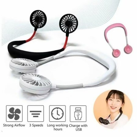 VicTsing Portable Sports Fan LED Light USB Rechargeable Charging Handheld Neckband Fan 3 Adjustable Speed for Home Office (Sports Fan Light)