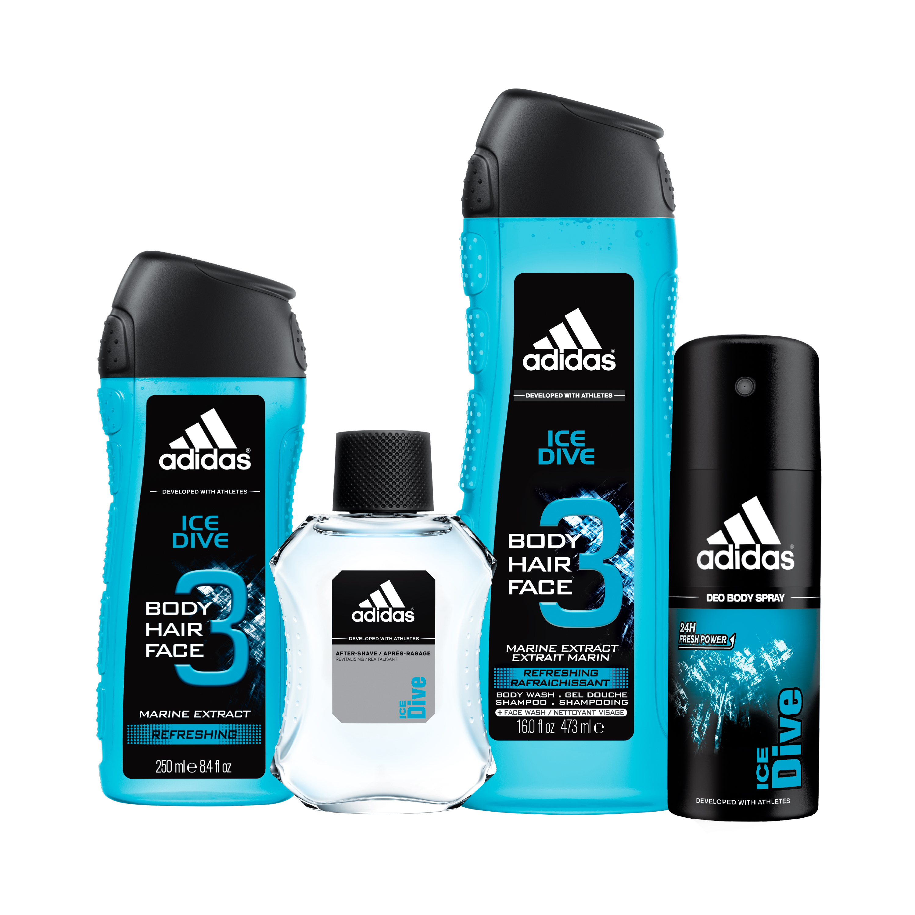 Adidas Ice Dive Aftershave, Body Spray & Body Wash Holiday Gift Set