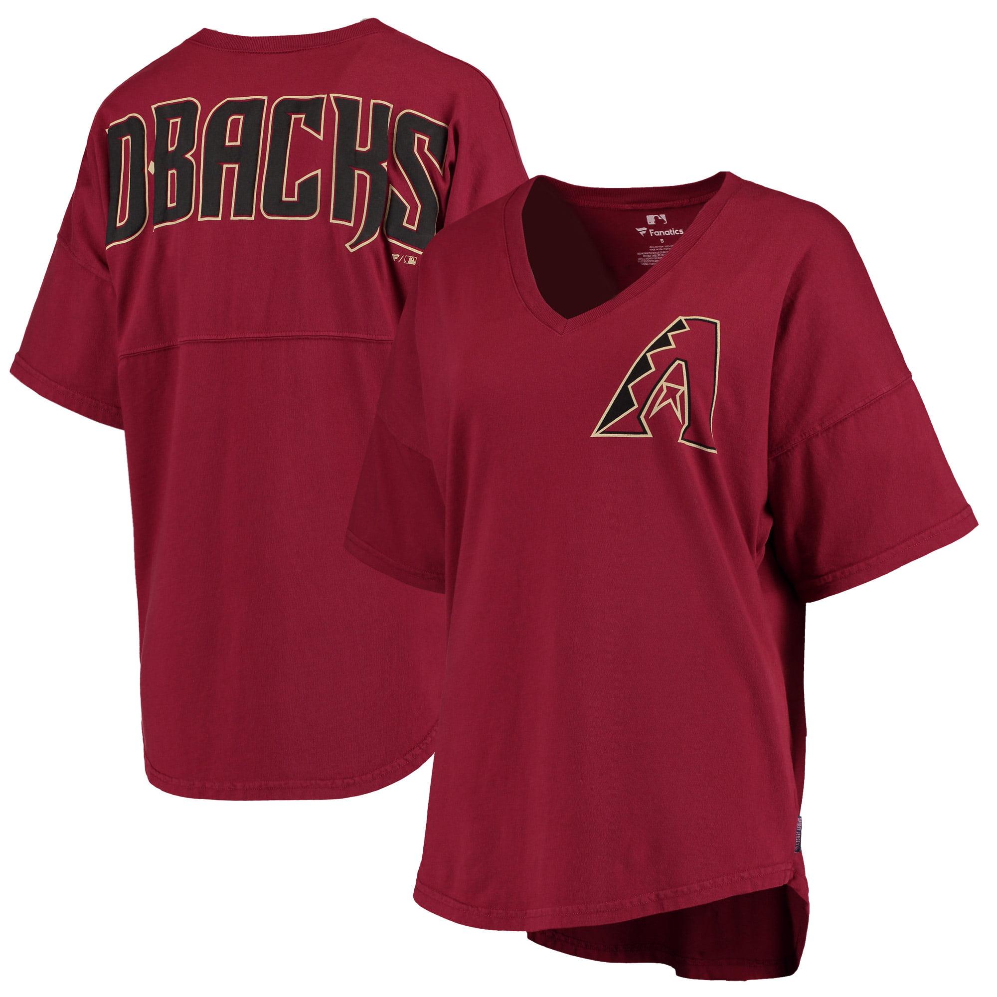 Women's Red Arizona Diamondbacks Oversized Spirit Jersey V-Neck T-Shirt
