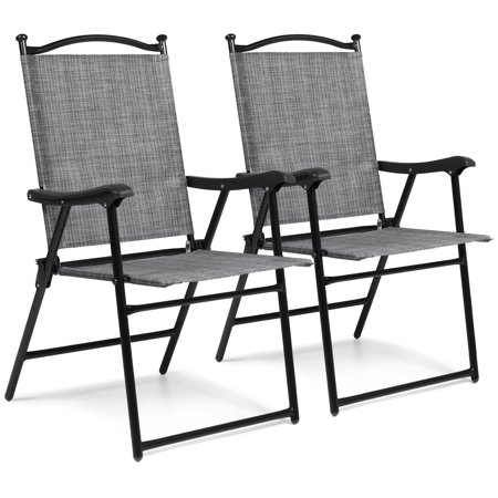 Best Choice Products Set of 2 Outdoor Mesh Fabric Portable Folding Sling Back Chairs for Backyard, Picnics, Beach, Camping, Patio, Porch, Garden, Pool w/ UV-Resistance - Gray ()