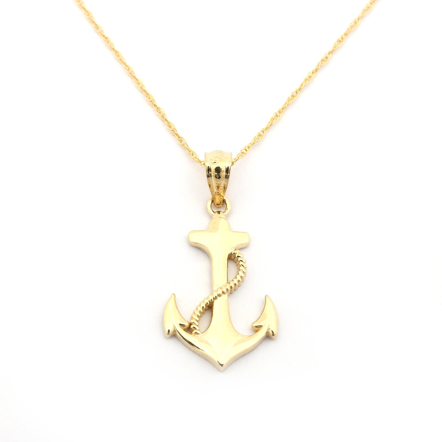"""14k Yellow Gold Anchor with Rope Pendant Necklace - 13"""" 1..."""