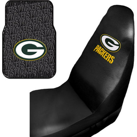 Green Bay Packers Cover - NFL Green Bay Packers 2 pc Front Floor Mats and Car Seat Covers Value Bundle