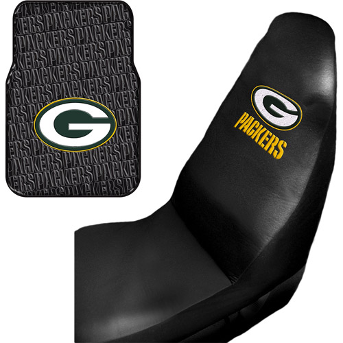NFL Green Bay Packers 2 pc Front Floor Mats and Car Seat Covers Value Bundle