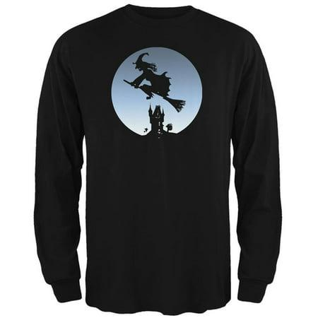 Halloween Witch Riding Broomstick Full Moon Mens Long Sleeve T Shirt](Full Moon Halloween)
