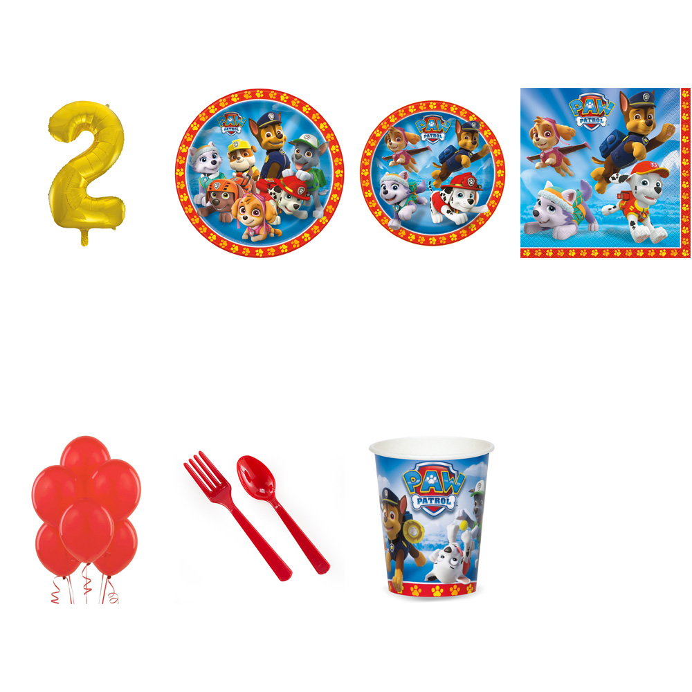 PAW PATROL PARTY SUPPLIES PARTY PACK FOR 32 WITH GOLD #2 BALLOON