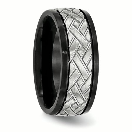 Stainless Steel Brushed Black IP Grooved Ring 12.5 Size - image 2 de 6