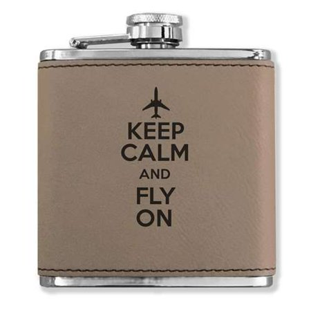 Faux Leather Flask - Keep Calm and Fly On - Light Brown ()
