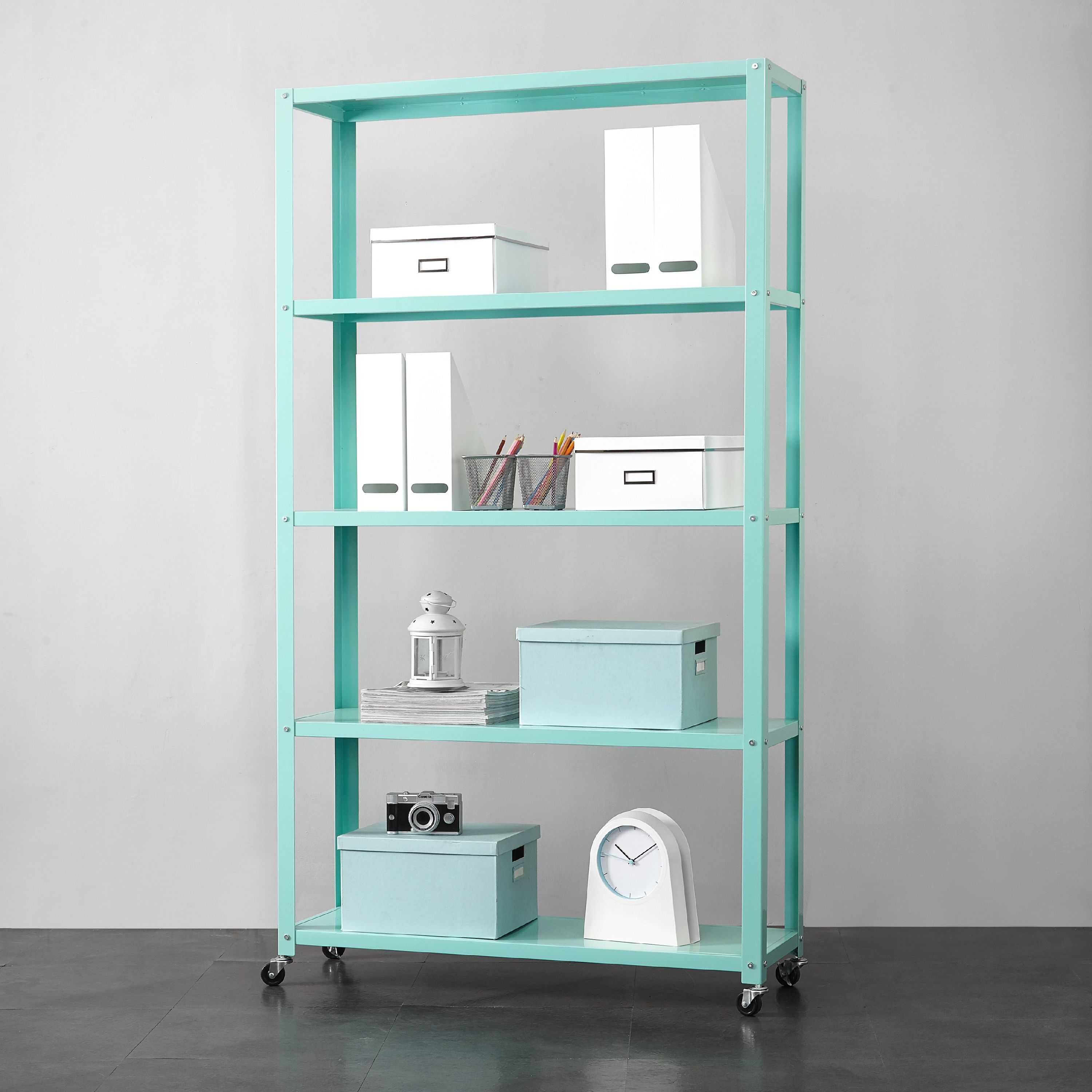Mainstays 5-Tier Rolling Metal Bookcase, Multiple Colors