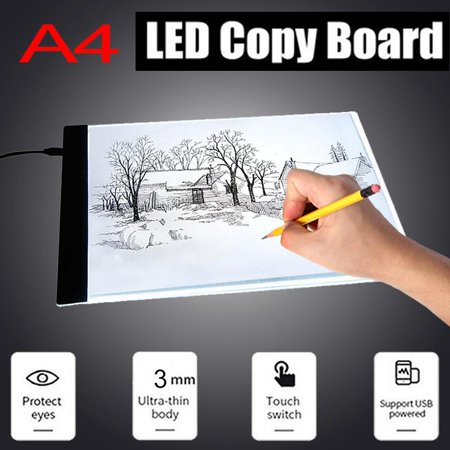 Painting Supplies 1pc A4 Led Art Stencil Board Light Pad Tracing Drawing Table Board For Kids Artists With Cable